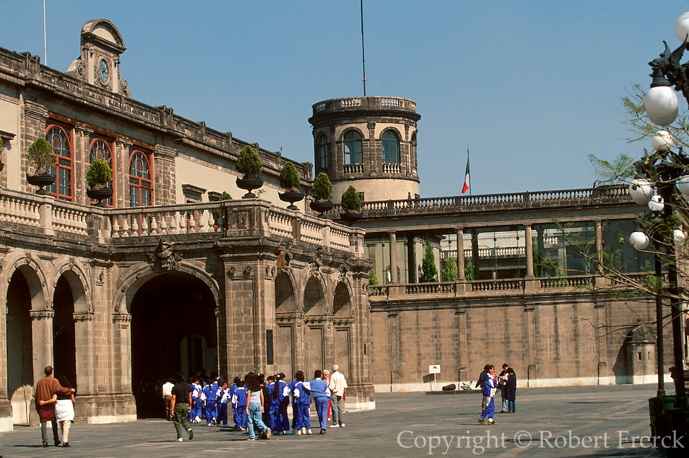 MEXICO, MEXICO CITY, CHAPULTEPEC Chapultepec Castle and Garden with young students touring the museum's history exhibits