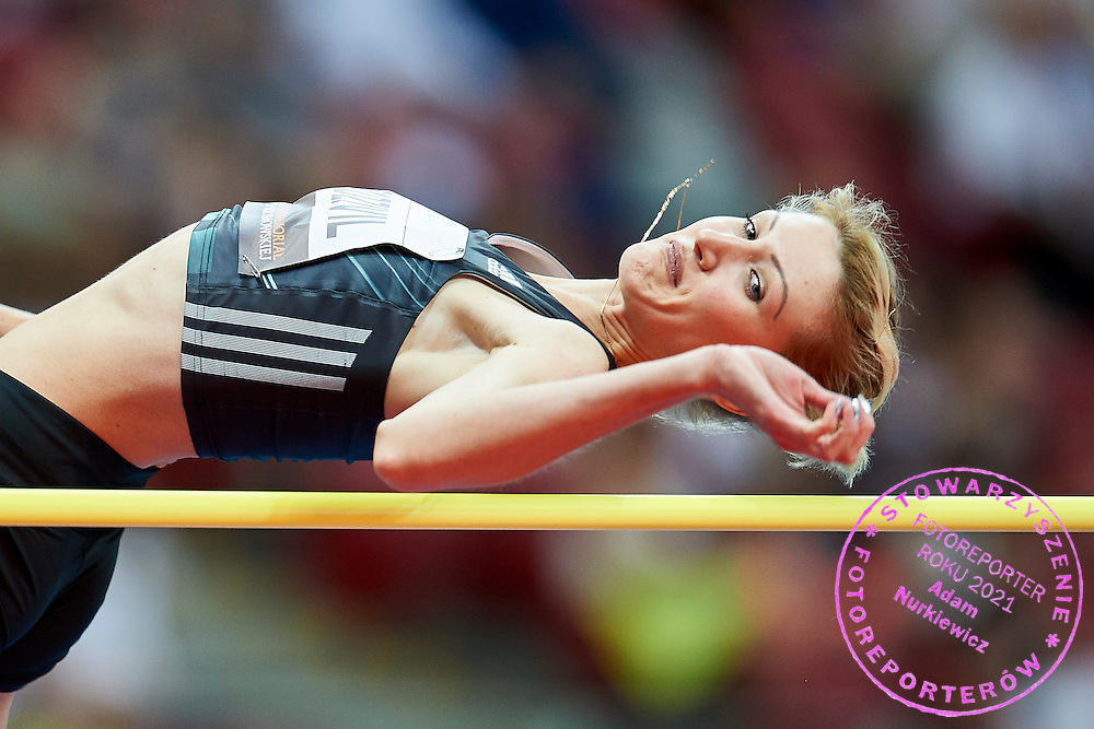 Warsaw, Poland - 2016 August 28: Svetlana Radzivil from Uzbekistan competes in women's high jump competition during athletics meeting Kamila Skolimowska Memorial 2016 at PGE National Stadium  August 28, 2016 w Warsaw, Poland.<br /> <br /> Adam Nurkiewicz declares that he has no rights to the image of people at the photographs of his authorship.<br /> <br /> Picture also available in RAW (NEF) or TIFF format on special request.<br /> <br /> Any editorial, commercial or promotional use requires written permission from the author of image.<br /> <br /> Mandatory credit:<br /> Photo by &copy; Adam Nurkiewicz