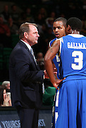 Dec 07, 2011; Birmingham, AL, USA;  Middle Tennessee Blue Raiders coach Kermit Davis talks to his players during the game against the UAB Blazers at Bartow Arena. The Blazers defeated the Blue Raiders 66-56 Mandatory Credit: Marvin Gentry-