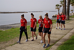 LARNACA, CYPRUS - Monday, March 5, 2018: Wales' Loren Dykes, Angharad James, Nadia Lawrence and Melissa Fletcher during a pre-match team walk around the Palm Beach Hotel & Bungalows in Larnaca ahead of the game against Switzerland on day seven of the Cyprus Cup tournament. (Pic by David Rawcliffe/Propaganda)