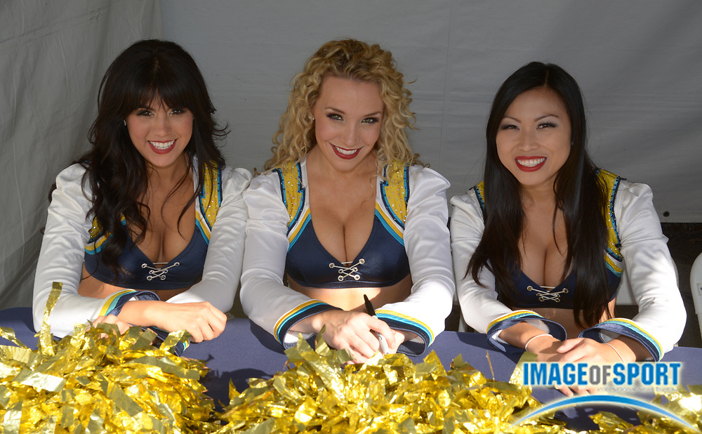 Dec 22, 2013; San Diego, CA, USA; San Diego Chargers cheerleaders pose before the game against the Oakland Raiders at Qualcomm Stadium.