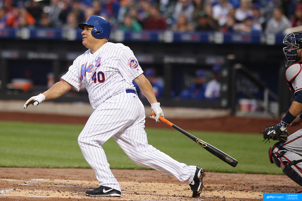 NEW YORK, NEW YORK - MAY 02: Pitcher Bartolo Colon #40 of the New York Mets watches as contact on the ball goes just foul during the Atlanta Braves Vs New York Mets MLB regular season game at Citi Field on May 02, 2016 in New York City. (Photo by Tim Clayton/Corbis via Getty Images)