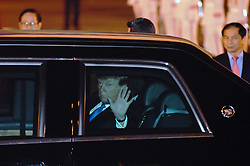 Feb. 26, 2019 - Hanoi, Vietnam - U.S. President DONALD TRUMP waves after arriving at an airport in Hanoi, Vietnam. Trump arrived in Vietnam's capital Hanoi on Tuesday night to meet with Kim Jong Un, top leader of the Democratic People's Republic of Korea. (Credit Image: © Xinhua via ZUMA Wire)