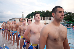 Players of Triglav Kranj prior to the water polo match between ASD Vaterpolo Rokava Koper and AVK Triglav Kranj in 3rd Round of Final of Slovenian Water polo National Championship, on June 8, 2011 in Zusterna pool, Koper, Slovenia. Rokava Koper defeated Triglav Kranj 12-6 and became Slovenian Champion 2011. (Photo By Vid Ponikvar / Sportida.com)