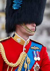 LONDON- UK - 14-JUNE-2014: The annual Trooping the Colour Ceremony for Queen Elizabeth;s Birthday is held in London. Members of the royal family travel by carriage from Buckingham Palace to Horseguards Parade for the Trooping Ceremony.<br /> Prince WIlliam<br /> Photograph by Ian Jones