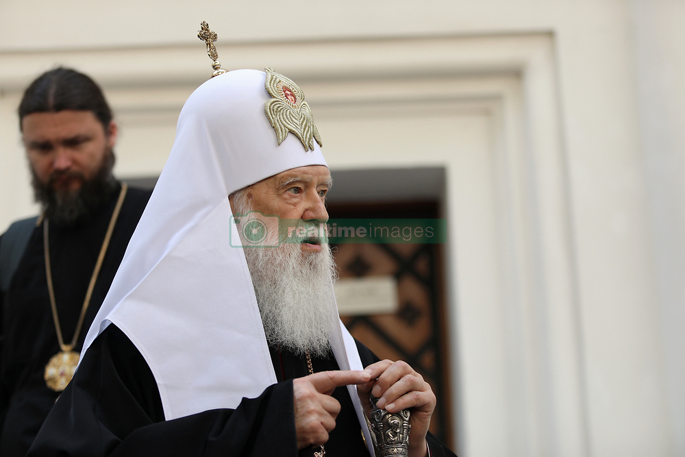 May 24, 2019 - Kyiv, Ukraine - Honorary Patriarch Filaret speaks to the press outside the House of the Metropolitan hosting the Holy Synod of Orthodox Church of Ukraine, the Saint Sophia of Kyiv National Conservation Area, Kyiv, capital of Ukraine, May 24, 2019. His Beatitude Metropolitan Epifanii of Kyiv and all Ukraine states that Honorary Patriarch Filaret persists on the existence of the Kyiv Patriarchate. Ukrinform. (Credit Image: © Danil Shamkin/Ukrinform via ZUMA Wire)