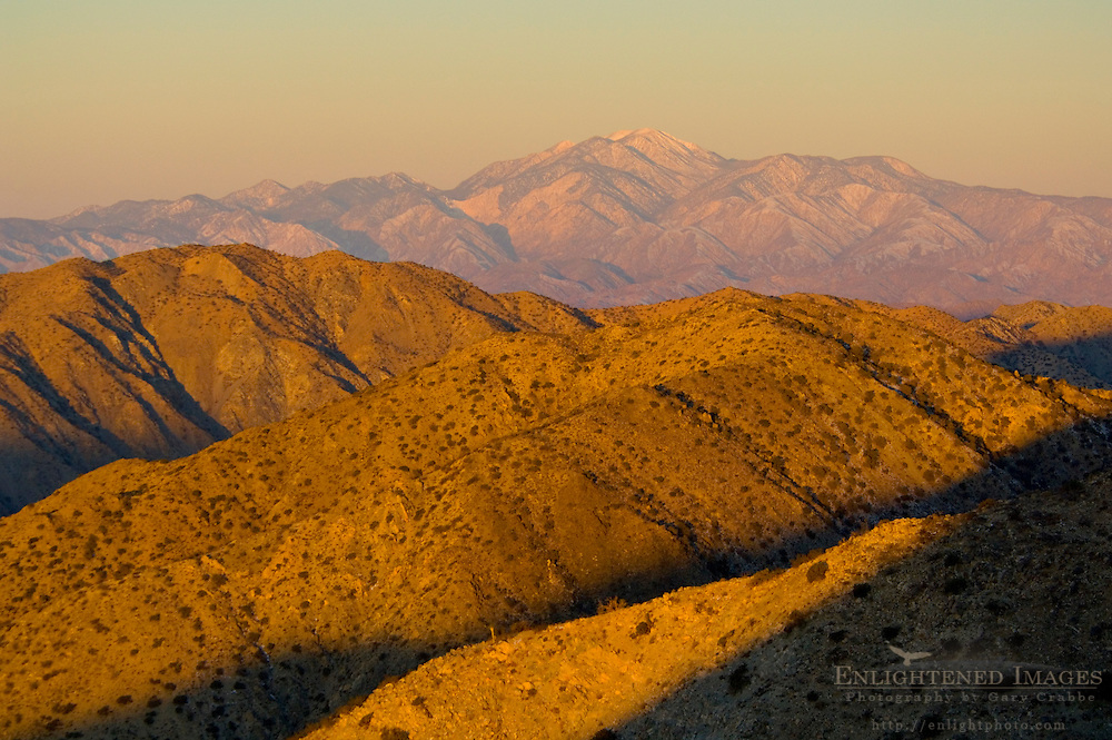 Sunrise light on hills and the distant Mount San Gorgonia peak from Keys View, Joshua Tree National Park, California