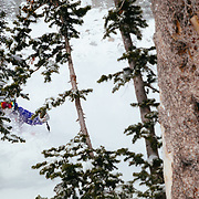 Andrew Whiteford skis the backcountry off of Jackson Hole Mountain Resort in Teton Village, Wyoming.