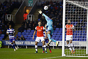 James Shea of Luton Town makes a save during the EFL Sky Bet Championship match between Reading and Luton Town at the Madejski Stadium, Reading, England on 9 November 2019.
