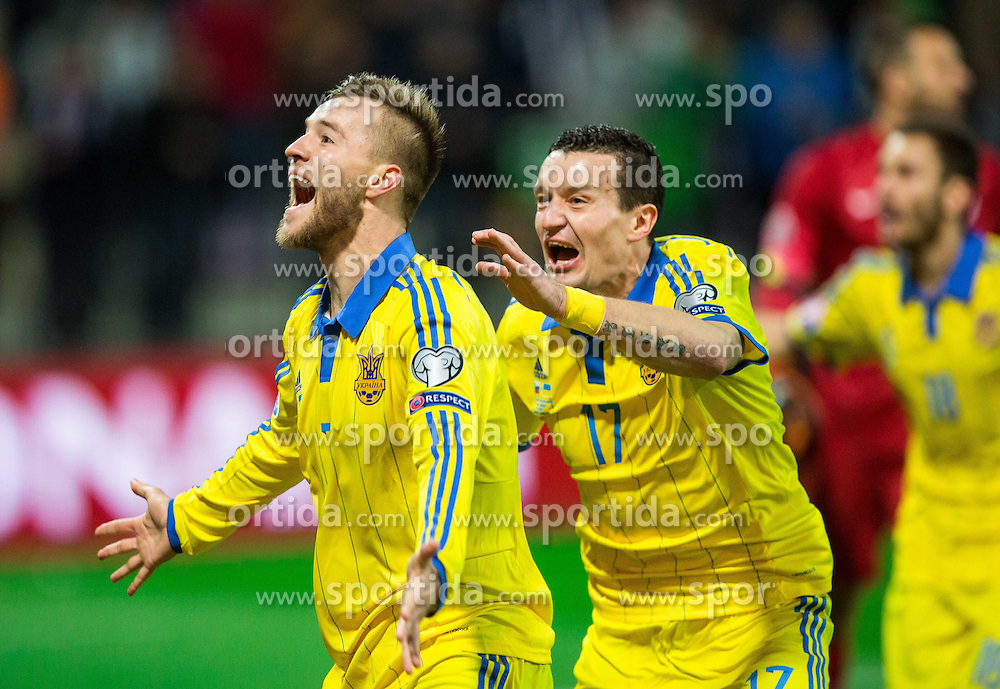 Andriy Yarmolenko (UKR) and Artem Fedetskiy (UKR) celebrate after scoring goal for Ukraine in last second during the UEFA EURO 2016 Play-off for Final Tournament, Second leg between Slovenia and Ukraine, on November 17, 2015 in Stadium Ljudski vrt, Maribor, Slovenia. Photo by Vid Ponikvar / Sportida