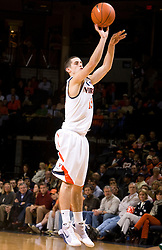 Virginia guard Sammy Zeglinski (13) shoots a jump shot against USF. The Virginia Cavaliers defeated the South Florida Bulls 77-75 at the University of Virginia's John Paul Jones Arena in Charlottesville, VA on November 19, 2008.