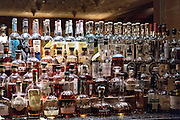 Oak room bar bourbon whisky collection in the historic The Hermitage Hotel in Nashville, TN.