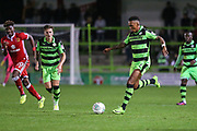 Forest Green Rovers Keanu Marsh-Brown(7) runs forward during the EFL Cup match between Forest Green Rovers and Milton Keynes Dons at the New Lawn, Forest Green, United Kingdom on 8 August 2017. Photo by Shane Healey.