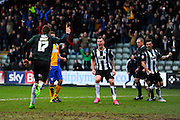 Plymouth Argyle's Ryan Brunt runs to celebrate with his team mates after scoring a penalty to put Plymouth 2-0 ahead during the Sky Bet League 2 match between Plymouth Argyle and Mansfield Town at Home Park, Plymouth, England on 13 February 2016. Photo by Graham Hunt.