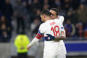 Memphis Depay of Lyon kiss Nabil Fekir of Lyon during the UEFA Europa League, Round of 32, 1st leg football match between Olympique Lyonnais and Villarreal on February 15, 2018 at Groupama stadium at Decines-Charpieu near Lyon, France - Photo Romain Biard / Isports / ProSportsImages / DPPI