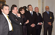 Norman Rosenthall,   Chancellor Gerhard Schroder, Cherie Blair,Rt hon Tony Blair MP, Georg Milbradt President of Saxony and Prof Phillip King President of the R.A.  open Masterpieces from Dresden at the Royal Academy, London. 12 March 2003. © Copyright Photograph by Dafydd Jones 66 Stockwell Park Rd. London SW9 0DA Tel 020 7733 0108 www.dafjones.com
