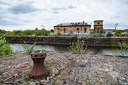 Historic disused graving dock at Govan on the Clyde in Glasgow, Scotland UK.