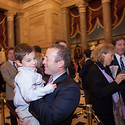Rep. Josh Gottheimer (D-NJ, 15) holds his son, Ben, while waiting in Statuary Hall before a ceremonial swearing-in, on Wednesday January 3, 2017.  Rep. Gottheimer was officially was sworn into the House of Representatives earlier in the day.  John Boal photo/for The Record