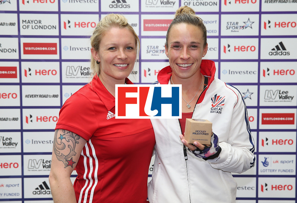 LONDON, ENGLAND - JUNE 25: Susannah Townsend is presented with her Milestone award for reaching 100 caps during the FIH Women's Hockey Champions Trophy match between Great Britain and Australia at Queen Elizabeth Olympic Park on June 25, 2016 in London, England.  (Photo by Alex Morton/Getty Images)