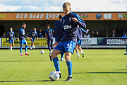 AFC Wimbledon Jack Madelin (31) warming up during the EFL Sky Bet League 1 match between AFC Wimbledon and Portsmouth at the Cherry Red Records Stadium, Kingston, England on 19 October 2019.