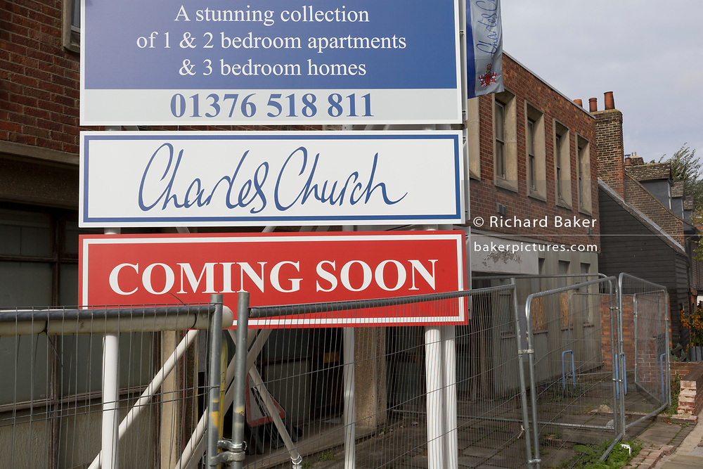 A billboard announcing that housing developer Charles Church will soon be constructing affordable apartments of 1 and 2 rooms each, on 8th October 2019, in Rainham, Essex, England. Voters in this Havering borough voted 69% in favour of Brexit during the 2016 referendum.