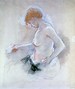 Nude'. Pastel on paper.  Berthe Morisot (1841-1895) French painter, sister-in-law of Edouard Manet.   Profile of seated woman washing.