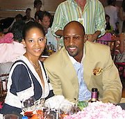 """**EXCLUSIVE**.Alonzo Harding Mourning, Jr. and wife Tracy.""""A Night In The Hamptons"""" to benefit the Andre .Agassi Charitable Foundation..The Ross School.East Hampton, NY, USA.Saturday, August 16, 2008.Photo By Celebrityvibe.com.To license this image please call (212) 410 5354; or Email: celebrityvibe@gmail.com ;.website: www.celebrityvibe.com"""