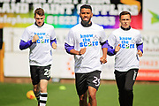 Exeter City defender Luke Croll (29) leads the warm up before the EFL Sky Bet League 2 match between Mansfield Town and Exeter City at the One Call Stadium, Mansfield, England on 1 April 2017. Photo by Nigel Cole.
