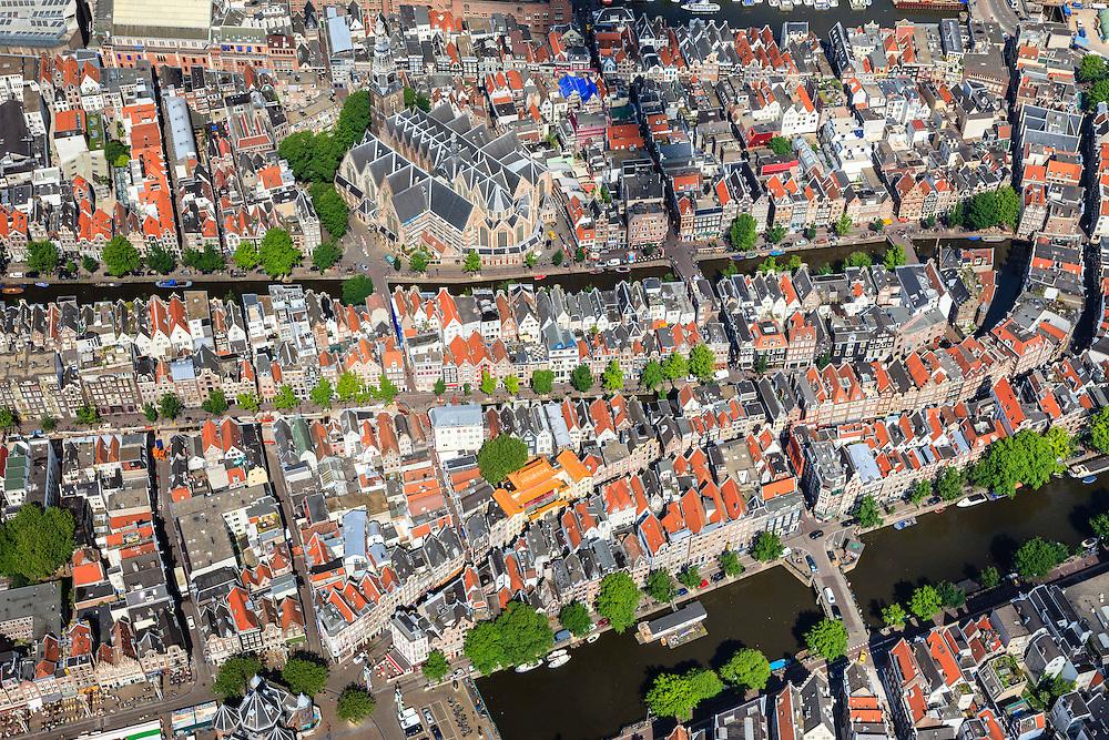 Nederland, Noord-Holland, Amsterdam, 14-06-2012; overzicht Nieuwmarktbuurt en Wallen, Gelderse kade, Oude Kerk en De Waag op de Nieuwmarkt (linksonder), de boeddhistische tempel op de Zeedijk en een gedeelte van de grachtengordel. .View on the Old town of Amsterdam, with the red light district, the Nieuwmarkt(square bottom left), the weigh house (Waag), the Old church, the Buddhist temple (orange roof, central picture)  and partly the ring of canals..luchtfoto (toeslag), aerial photo (additional fee required).foto/photo Siebe Swart