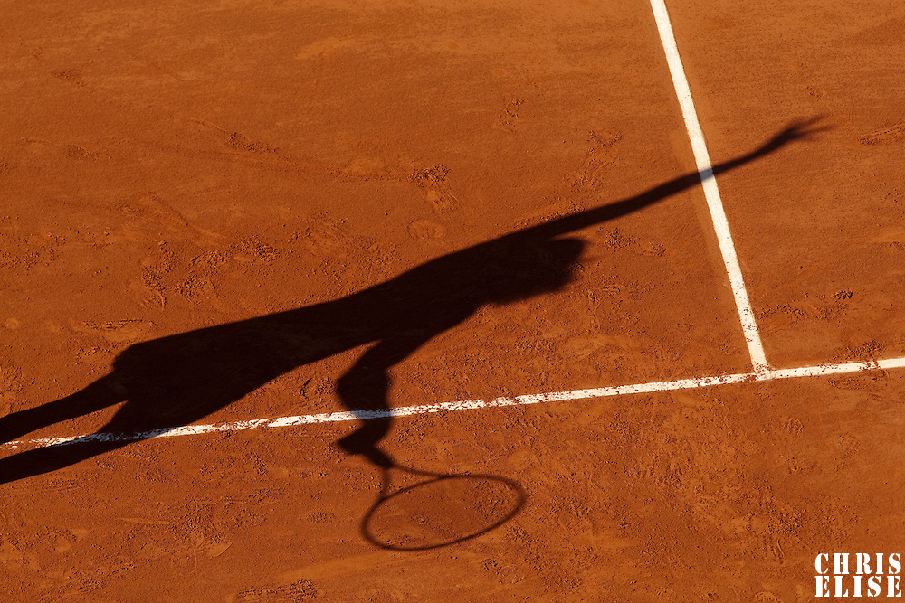 30 May 2009: Shadow of Serena Williams during the Women's Third Round match on day seven of the French Open at Roland Garros in Paris, France.