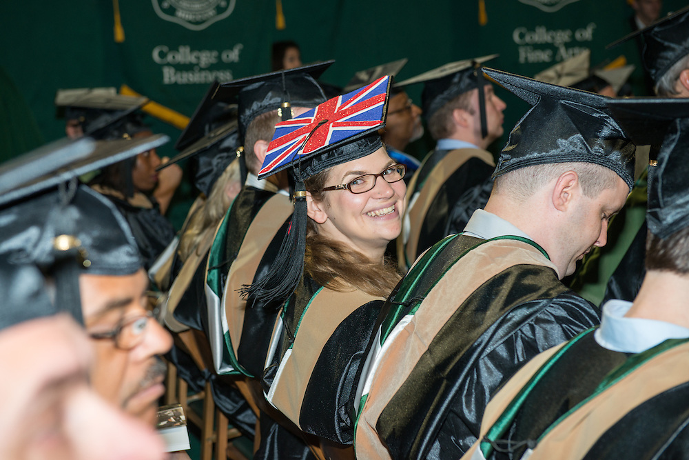 College of Business Student Jennie Daniels at graduate commencement. Photo by Ben Siegel