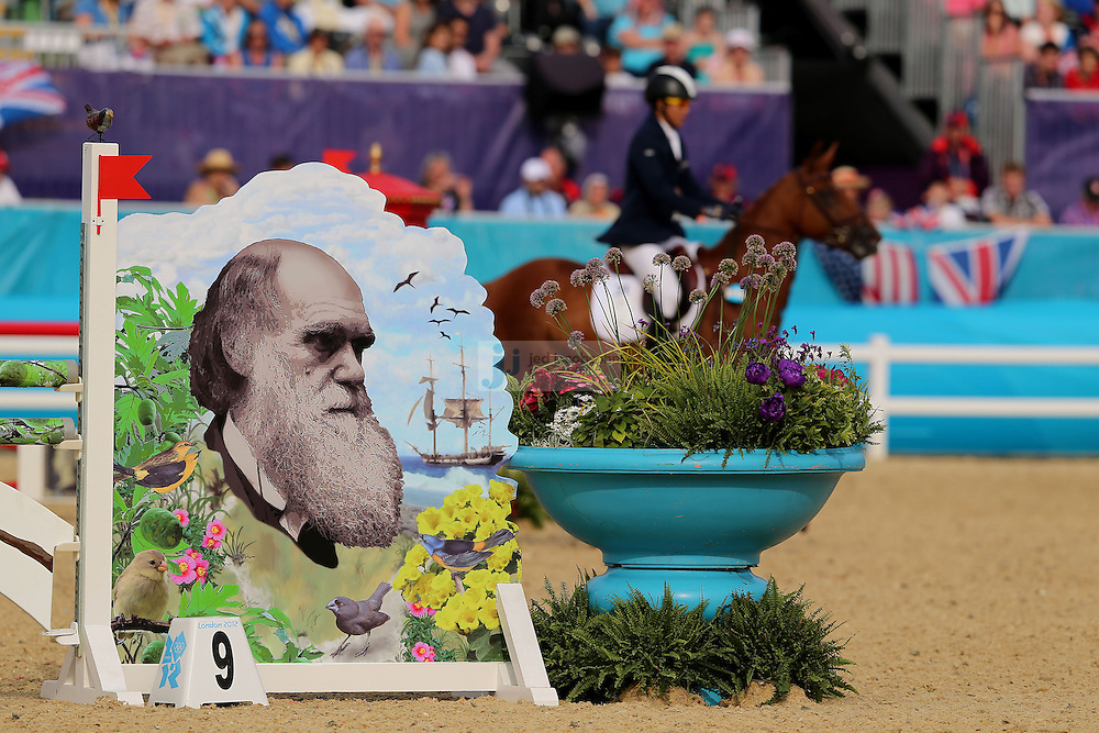 A competetior rides during men's modern pentathlon during day 15 of the London Olympic Games in London, England, United Kingdom on August 11, 2012..(Jed Jacobsohn/for The New York Times)..