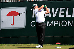 June 21, 2018 - Cromwell, CT, U.S. - CROMWELL, CT - JUNE 21: Charley Hoffman of the United States hits from the 1st tee during the First Round of the Travelers Championship on June 21, 2018, at TPC River Highlands in Cromwell, Connecticut. (Photo by Fred Kfoury III/Icon Sportswire) (Credit Image: © Fred Kfoury Iii/Icon SMI via ZUMA Press)