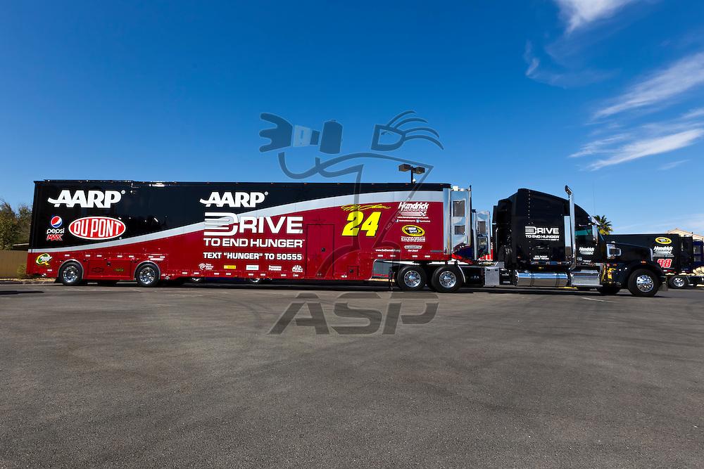 LAS VEGAS, NV - MAR 08, 2012:  The NASCAR Sprint Cup hauler of Jeff Gordon (24) waits to enter the Las Vegas Motor Speedway before the running of the Kobalt Tools 400 race in Las Vegas, NV.