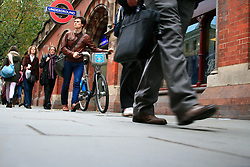 Cycle hire bike wheeled past closed St Pancras underground station.© under license to London News Pictures. 03/11/2010.Tube Strike, RMT and TSSA members strike over job cuts and safety issues.