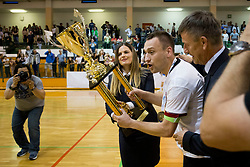 Rok Mordej of FC Dobovec celebrate after futsal match between FC Litija and FC Dobovec Pivovarna Kozel in Final of 1.SFL 2017/18, on May 18, 2018 in Sports hall Litija, Litija, Slovenia. Photo by Urban Urbanc / Sportida