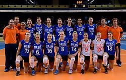 11-06-2013 VOLLEYBAL: NEDERLANDS - JAPAN: ZWOLLE<br /> De Nederlandse volleybalvrouwen zijn de oefencampagne tegen Japan met een knappe 3-1 overwinning begonnen / Het Nederlands team 2013<br /> ©2013-FotoHoogendoorn.nl