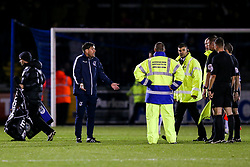 Bristol Rovers Manager Darrell Clarke appeals to the officials after his side were denied a crucial penalty in a 2-3 loss - Rogan/JMP - 12/09/2017 - FOOTBALL - Memorial Stadium - Bristol, England - Bristol Rovers v Oldham Athletic - EFL Sky Bet League One.