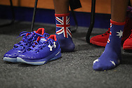 14/10/2016 Terrance Ferguson wears socks with the Australian flag as he makes his debut in front of the Adelaide 36ers home crowd as the Adelaide 36ers vs Melbourne United at the Titanium Security Arena.