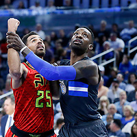 25 February 2017: Atlanta Hawks forward Thabo Sefolosha (25) vies for the rebound with Orlando Magic guard Jeff Green during the Orlando Magic 105-86 victory over the Atlanta Hawks, at the Amway Center, Orlando, Florida, USA.