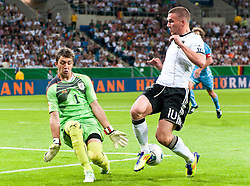 29.05.2011, Rhein-Neckar-Arena, Sinsheim, GER, LS FSP, Deutschland (GER) vs Uruguay (UY), im Bild Goalkeeper Fernando Muslera of Uruguay and Lukas Podolski of Germany battle for the ball during the Football Friendly Ship betweem Germany and Uruguay  for the Rhein-Neckar-Arena in Sinsheim, Germany, 2011/05/29, EXPA Pictures © 2011, PhotoCredit: EXPA/ nph/  Roth       ****** out of GER / SWE / CRO  / BEL ******