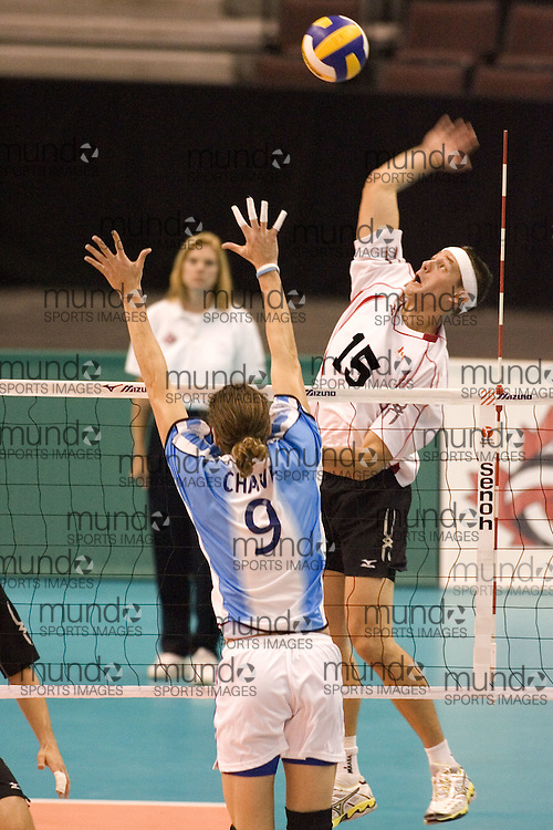 Fred Winters of  Canada during a three games to none defeat of Argentina in the 2006 Anton Furlani Volleyball Cup, held in Ottawa, Canada. .Anton Furlani Cup.Copyright Sean Burges / Mundo Sport Images, 2006