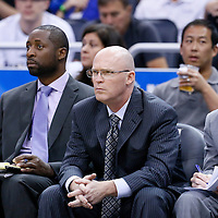 28 October 2015: Orlando Magic assistant coach Adrian Griffin, Orlando Magic head coach Scott Skiles and assistant coach Monte Mathis are seen during the Washington Wizards 88-87 victory over the Orlando Magic, at the Amway Center, in Orlando, Florida, USA.