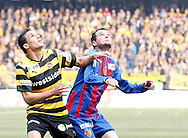 BSC Young Boys player David Degen (L) duels with FC Basel forward Alex Frei during the Super League (National League A) soccer match between BSC Young Boys (YB) and FC Basel (FCB) at the Stade de Suisse stadium in Bern, Switzerland, Sunday, Mai 16, 2010. FC Basel have won the Swiss football championship beating Young Boys of Bern 2-0 in the last match of the season. (Photo by Patrick B. Kraemer / MAGICPBK)