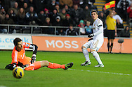 Swansea city's Pablo Hernandez puts a shot past Stoke keeper Asmir Begovic but is ruled offside. Barclays premier league, Swansea city v Stoke city at the Liberty Stadium in Swansea on Saturday 19th Jan 2013. pic by Andrew Orchard, Andrew Orchard sports photography,
