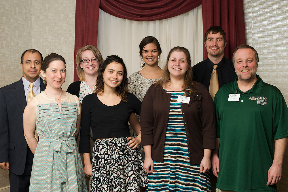 back row: Dr. Julio Arauz, Caitlyn John, Kelsey Davis, Devon Baum<br /> front row: Mary Nally, Kara Frisina, Dr. Joann Benigno, Dr. Robert Williams &copy; Ohio University / Photo by Olivia Wallace