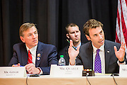 21 MAY 2012 - PHOENIX, AZ:  US Representatives PAUL GOSAR (R AZ 1) left, and BEN QUAYLE (R AZ 3) at the US House of Representatives Committee on Homeland Security, Subcommittee on Border and Maritime Security meeting Monday in Phoenix to talk about ways to improve information-sharing among government law enforcement agencies to thwart the flow of illicit drugs from Mexico into Arizona. Republican Congressman Paul Gosar and Ben Quayle, both from Arizona, and Democratic Congresswoman Sheila Jackson Lee, from Texas, attended the meeting.               PHOTO BY JACK KURTZ