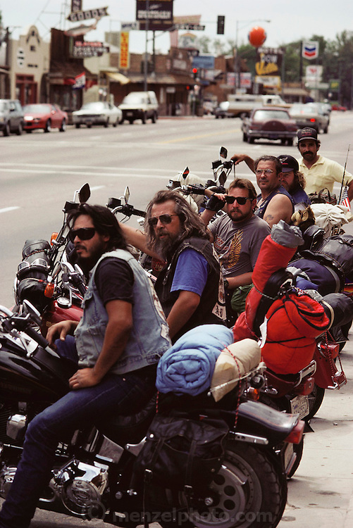 Bikers in Lone Pine, California. Route 395: Eastern Sierra Nevada Mountains of California.
