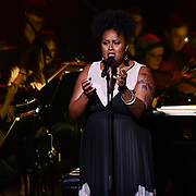 Zara McFarlane is a British jazz/soul singer and songwriter preforms at Jazz Voice - Festival opening gala at Royal Festival Hall on 16 Nov 2018, London, UK.