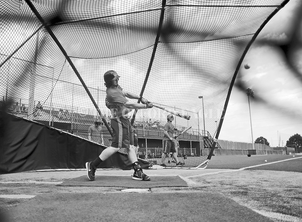 Mississippi's Will Allen (30) bats at practice at Creighton University in Omaha, Neb. on Wednesday, June 18, 2014.